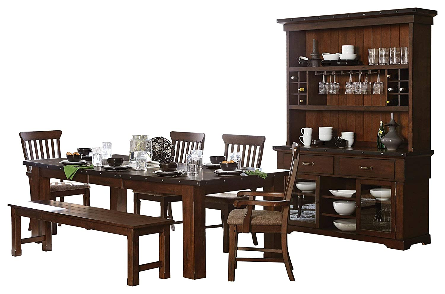 Sobrada Industrial 7PC Dining Set Table, 2 Arm, 2 Side Chair, Bench, Buffet & Hutch in Rustic Brown