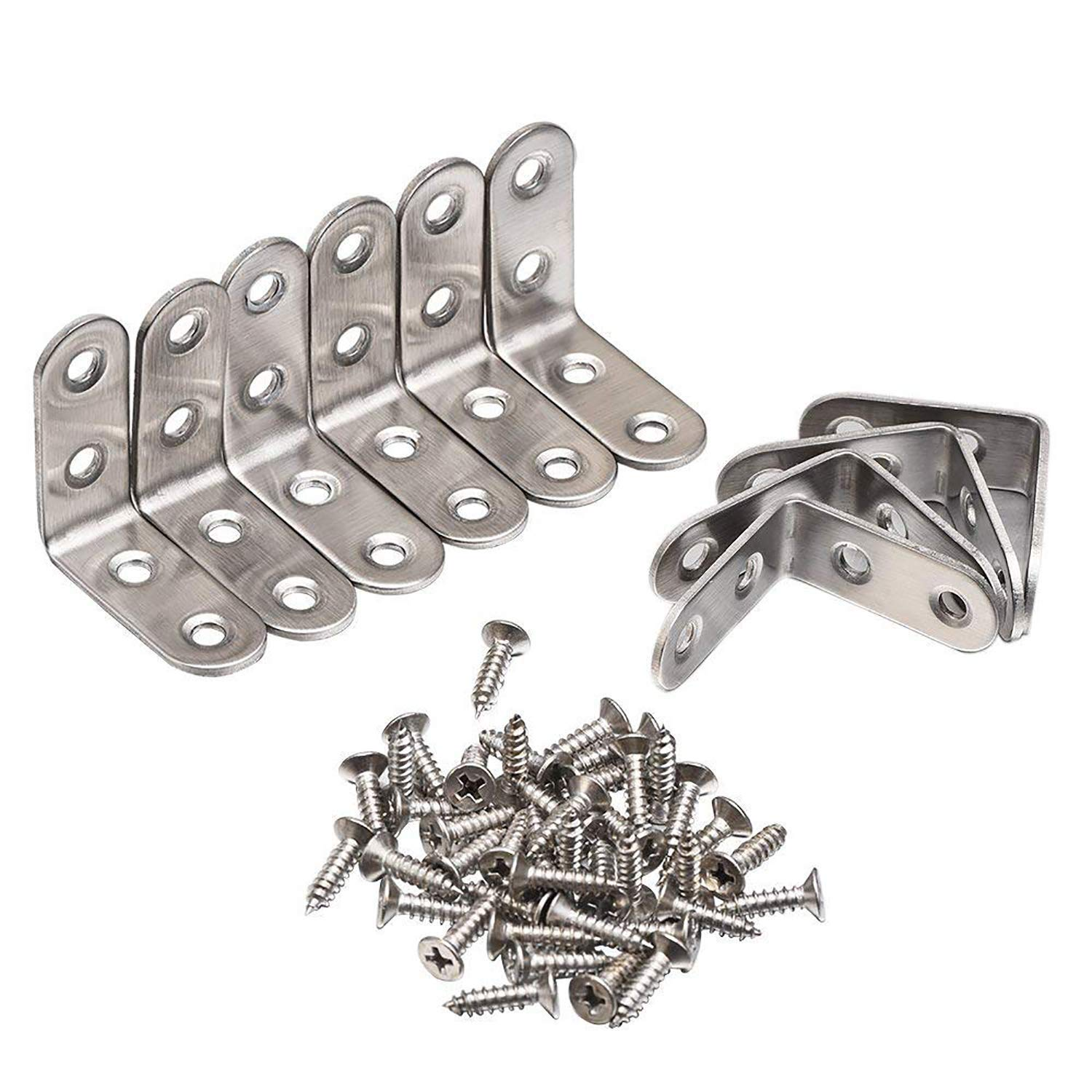 Corner Brace 90 Degree Right Angle Brackets Stainless Steel Corner Braces with Screws 10 Pack by Ashnna 40 40 mm