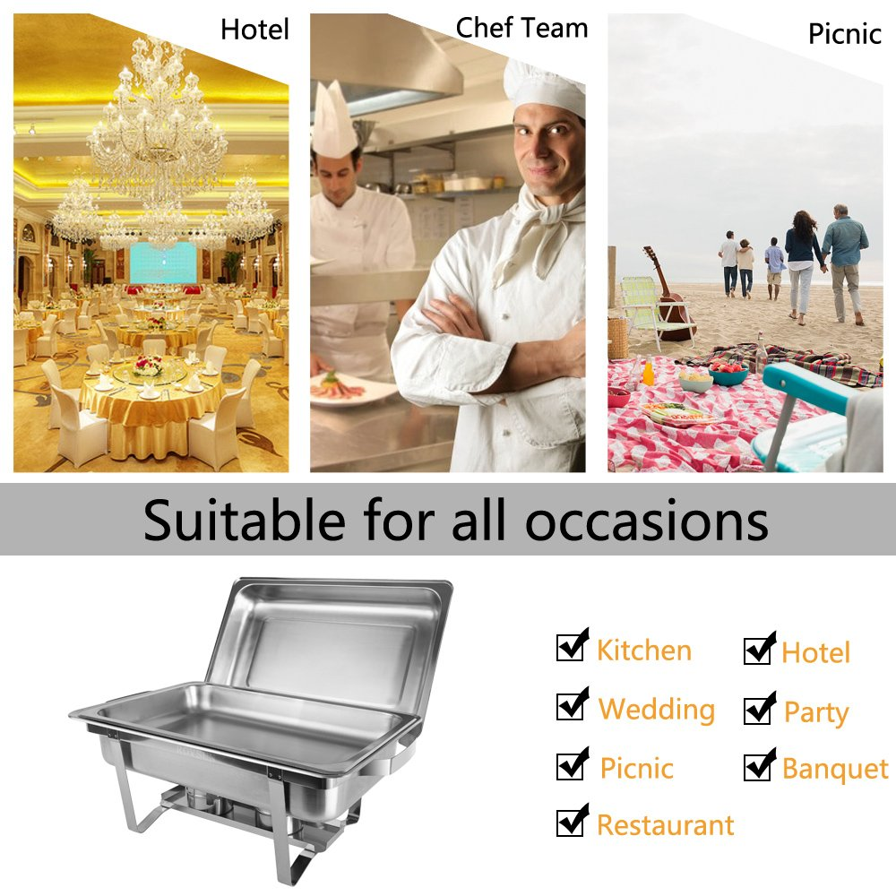 ROSVUN Upgraded Stainless Steel Chafing Dish Buffet Silver Round Catering Warmer Set with Food and Water Trays, Mirror Cover, Thick Stand Frame for Kitchen Party Banquet (2 Round+ 2 Rectangular) by ROVSUN (Image #8)