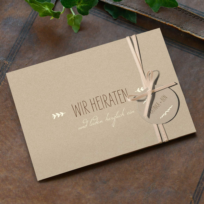 Hochwertige Einladungskarten Einladungskarten Einladungskarten zur Hochzeit im edlen Kraftpapier Look   Designs auswählbar   Hochzeitseinladungen mit Druck Ihrer eigenen Texte   100 Stück   Rustic Vintage   Moderne Hochzeitskarten B07NBM9DMH | Nicht so teuer  | Für Ihre Wahl   040aab