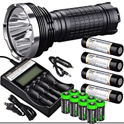 FENIX TK75 4000 Lumen 2015 Edition Quad CREE XM-L2 U2 LED Flashlight with Four Fenix ARB-L2M 18650 Batteries EdisonBright 4 port home/car smart battery charger and eight EdisonBright CR123A lithium batteries bundle