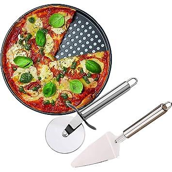 Gytech Bandeja para Pizza Antiadherente de 12 Pulgadas y Rueda de Corte de Pizza (Acero