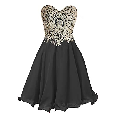 100e147186f Corset Little Black Cocktail Party Dresses Prom Homecoming Gowns Gold Lace  Crystals US 2