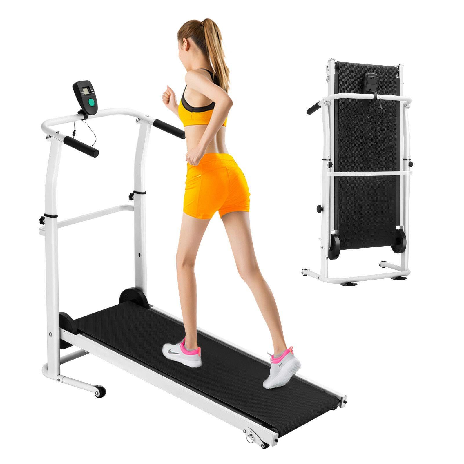 HappyShopShop Folding Adjustable Manual Treadmill Run Running Walk Walking Machine Cardio Exercise