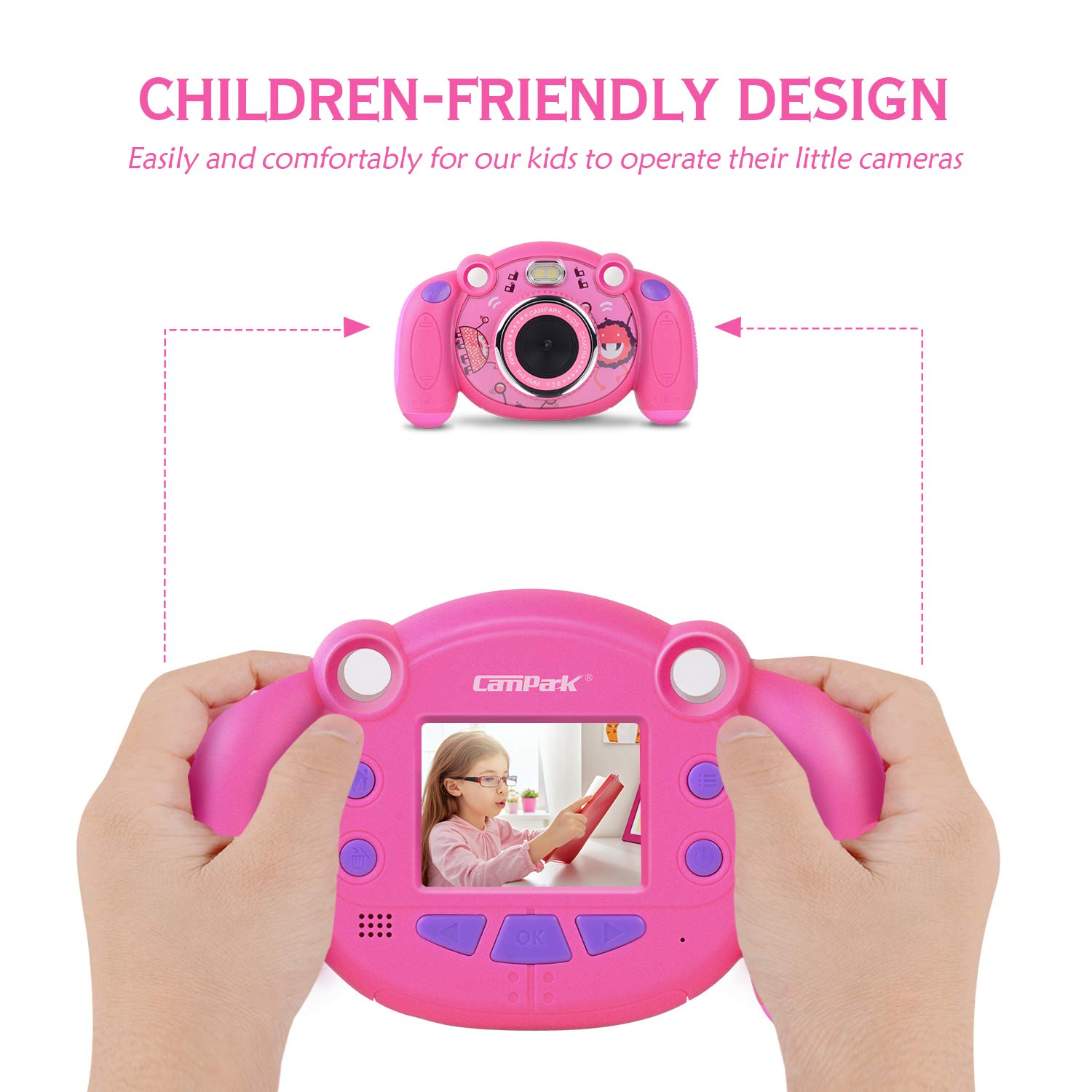 Campark Kids Camera, Mini Child Camcorder with HD LCD Display 16GB Memory Card for Girls Pink Great Birthday Gift by Campark (Image #5)
