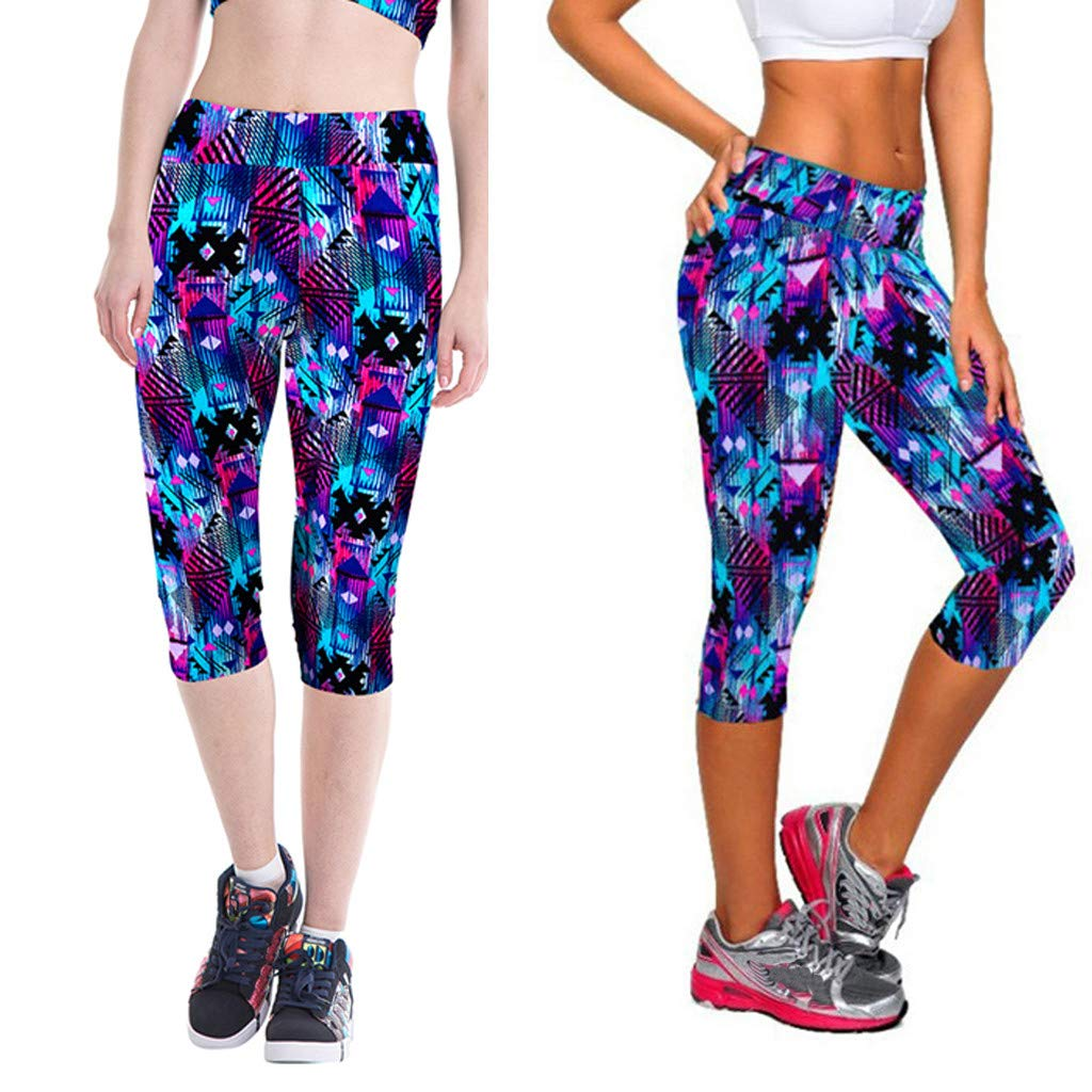 iCJJL Womens Printed Yoga Capris Leggings Extra Soft Workout Active Pants for Gym Fitness Running