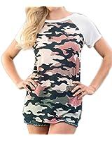 Shopglamla Short Sleeves Contrast Print Colorblock Raglan Top. Made in USA