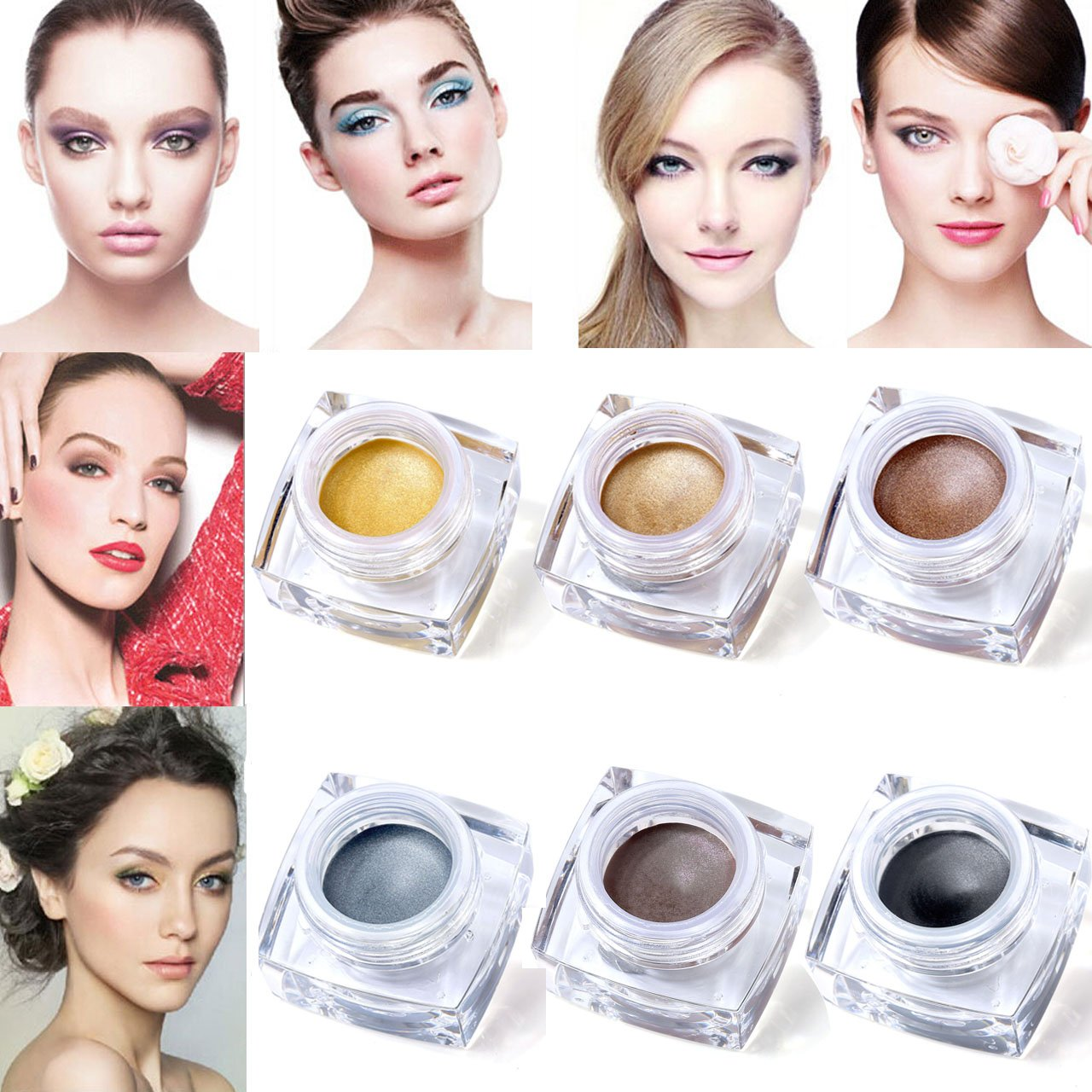 CCbeauty 6 Colors Waterproof Shimmer Makeup Glitter Cream Eyeshadow Palette Set, Long Lasting Mulfunctional Make up Set #2