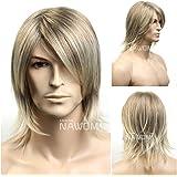 SureWells Medium style Straight Men Wig,Golden Blonde color