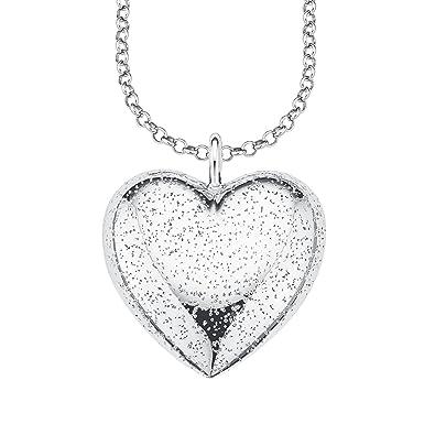 Anhänger mit Gravur Perlmut und Kette Silber 925 Damen Herz auf Herz Doppel