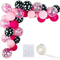 Minnie Color Balloons 40 Pack, 12 Inch Light Pink Rose Red Black Bot Latex Balloons with Confetti Balloon Balloons Strip…