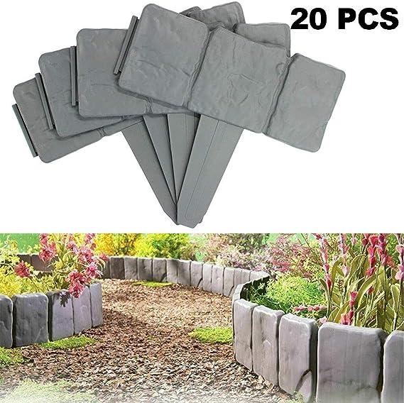 Césped Valla Efecto de Piedra Borde Entrelazado Cantero Borde de Hierba Borde de Imitación Jardín Decoración Cerca de la Planta Borde (10, Gray): Amazon.es: Jardín