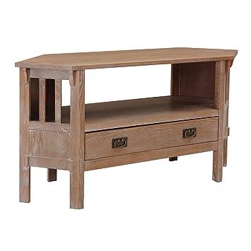 Amazon Com Furniture Hotspot 46 Corner Tv Stand Burnt Oak