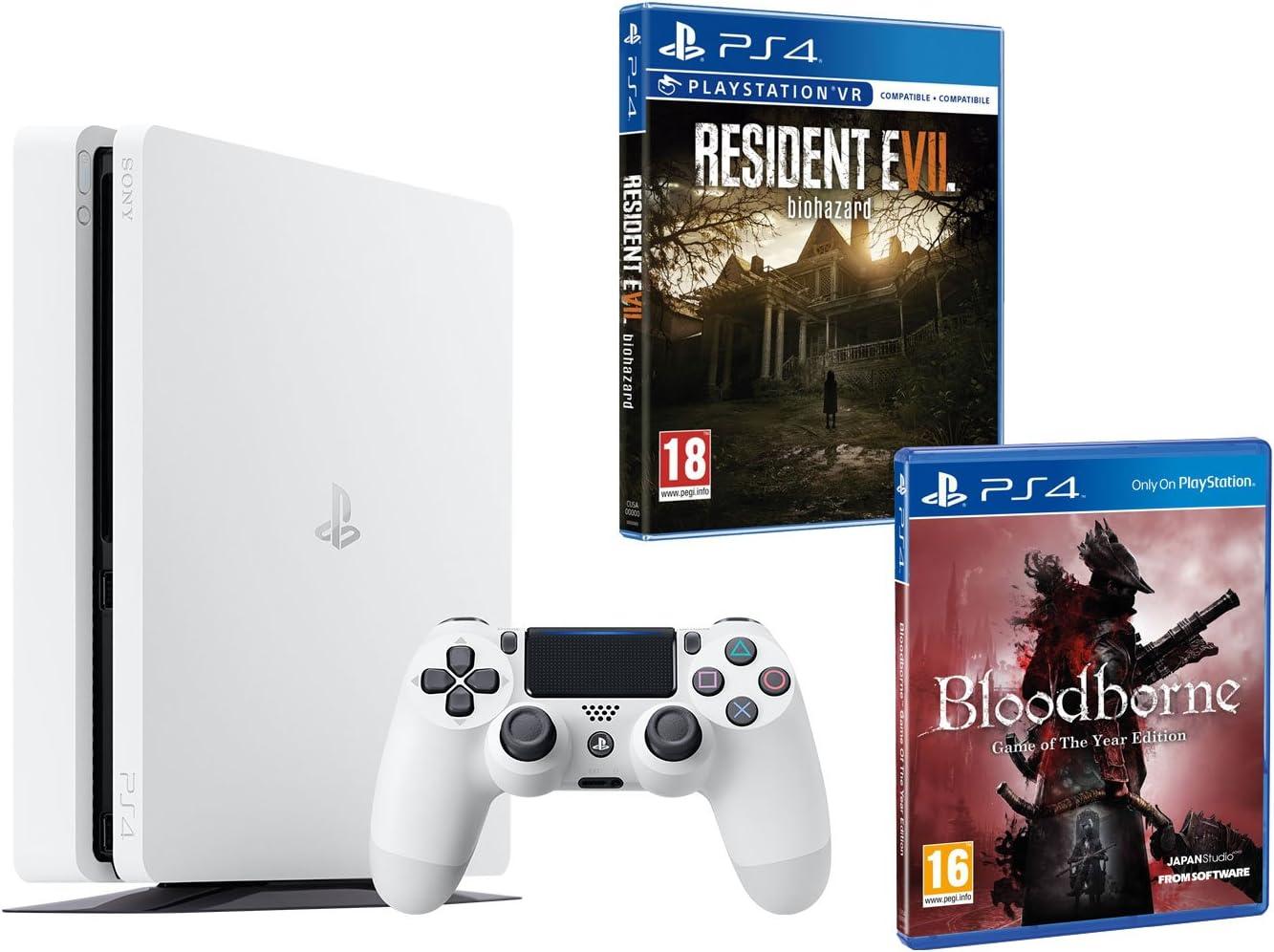 PS4 Slim 500 GB Color Blanco Playstation 4 Pack 2 Juegos – Bloodborne GOTY + Resident Evil VII: Amazon.es: Informática
