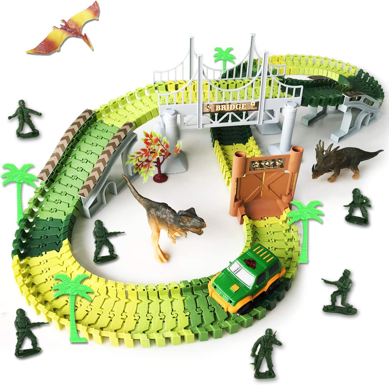 Create Your Own Dinosaur Race Track with Flexible Track 2 Cool Battery Powered Dinosaur Cars Stocking Stuffers for 3 Years Old /& Up Boys Girls Christmas Gift 2 Realistic Dinosaur Figures Best Birthday Gift 1 Bridge and Many Fun Accessories