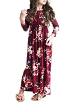 MITILLY Girls Flower 3/4 Sleeve Pleated Casual Swing Long Maxi Dress With Pockets