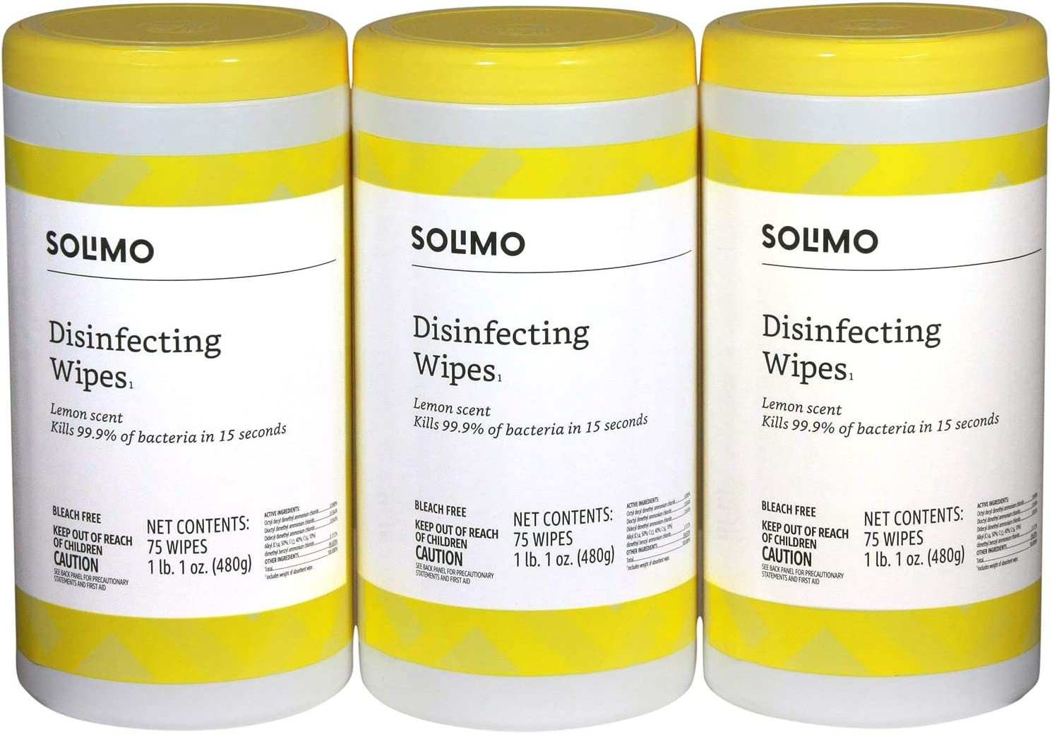 Amazon Brand - Solimo Disinfecting Wipes, Lemon Scent, Sanitizes/Cleans/Disinfects/Deodorizes, 75 Count (Pack of 3)