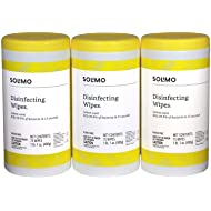 Amazon Brand - Solimo Disinfecting Wipes, Lemon Scent, Sanitizes/Cleans/Disinfects/Deodorizes, 75 Wipes Each (Pack of 3)