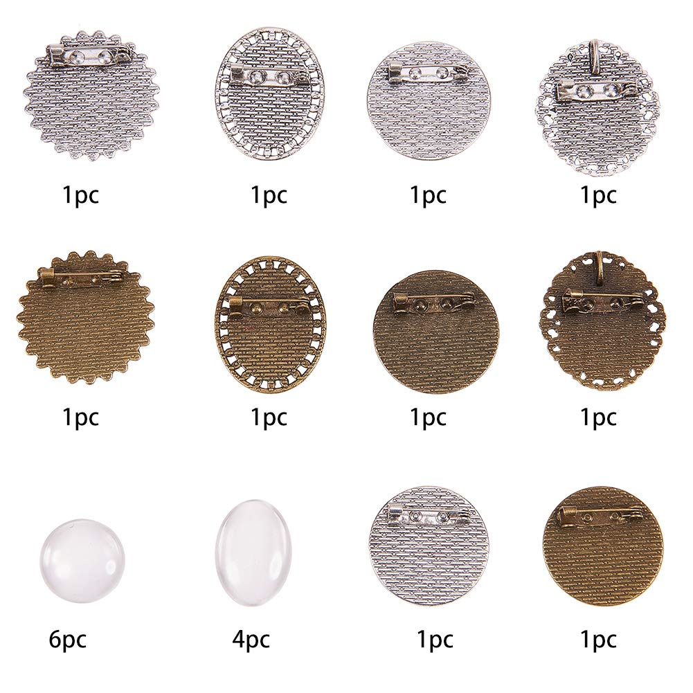 Antique Silver /& Bronze SUNNYCLUE DIY 10PCS Groom Picture Lapel Pins Wedding Boutonniere Funeral Memorial Pin Brooch Photo Charms Kit Include Oval Round Pendant Trays /& Clear Glass Cabochons