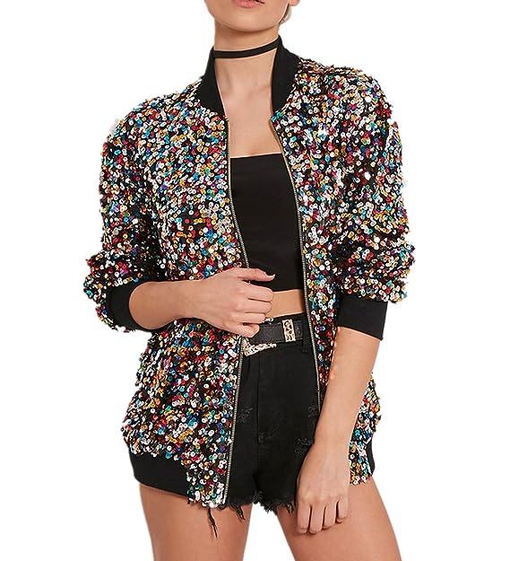Cresay Womens Sequin Fitted Long Sleeve Zipper Blazer Bomber Jacket
