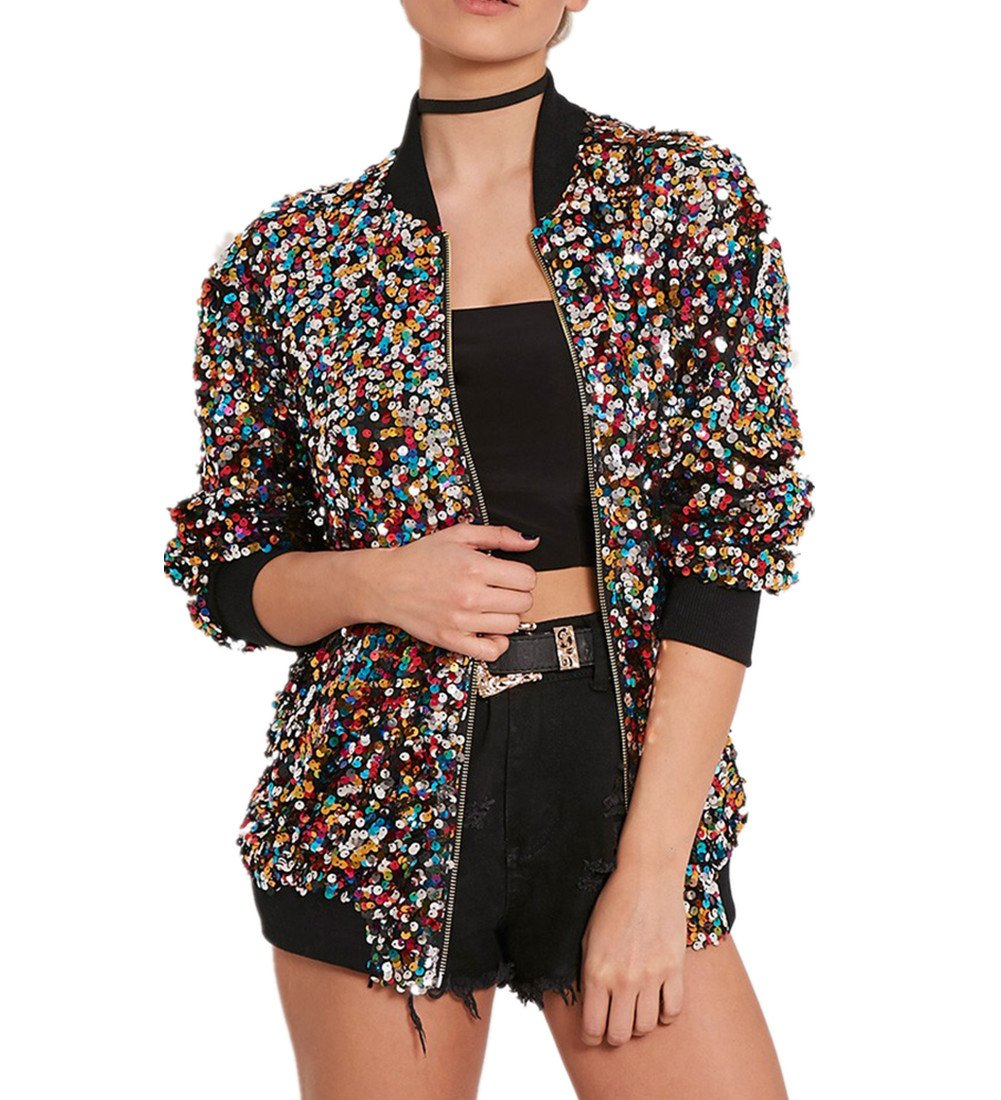 Cresay Women's Sequin Fitted Long Sleeve Zipper Blazer Bomber Jacket-Tag M