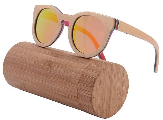 SHINU Handgefertigte Holz Glaser Retro Vintage Wood Sonnenbrille Polarisierte mit Bambusrahmen und Tempel-Z68005(natur-rosa, orange)