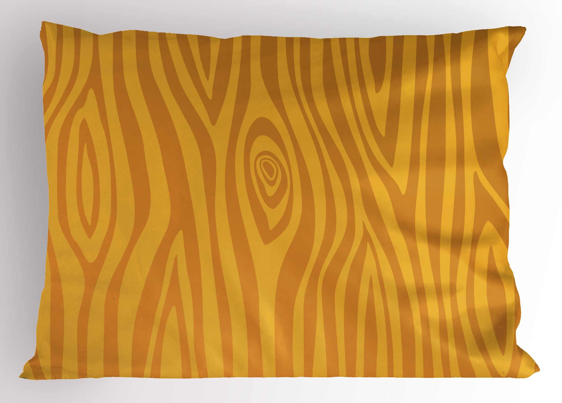 Lunarable Wood Print Pillow Sham, Tree Bark Pattern with Warm Colors Doodle Stripes Circular Shapes, Decorative Standard King Size Printed Pillowcase, 36 X 20 inches, Apricot and Earth Yellow
