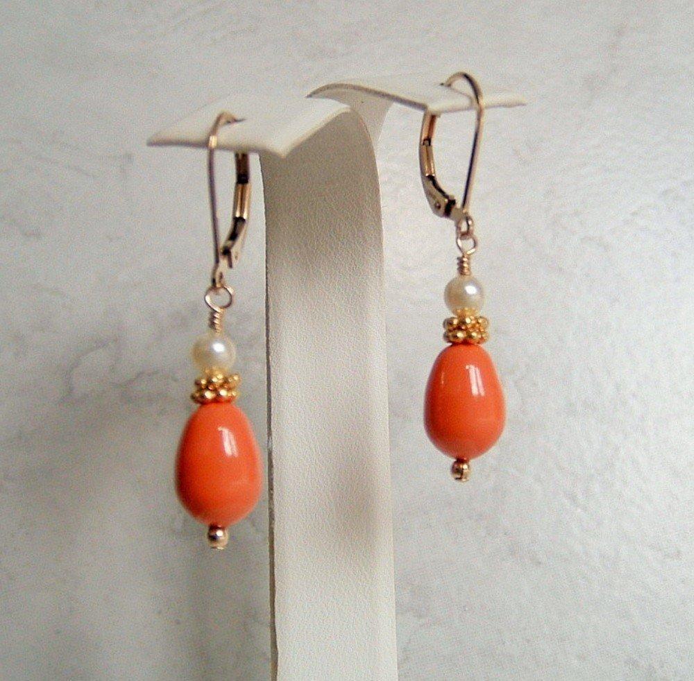 """14K Yellow Gold Teardrop Peach Pearl Leverback Dangle Earrings 1/"""""""