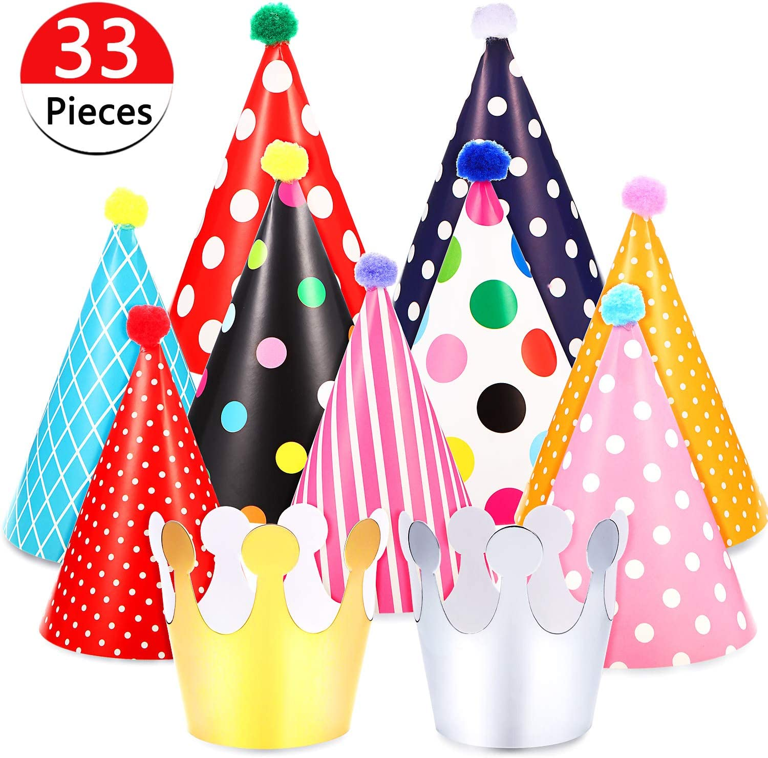 ~ Birthday Party Supplies Paper Favors 8 RED POLKA DOT CONE HATS
