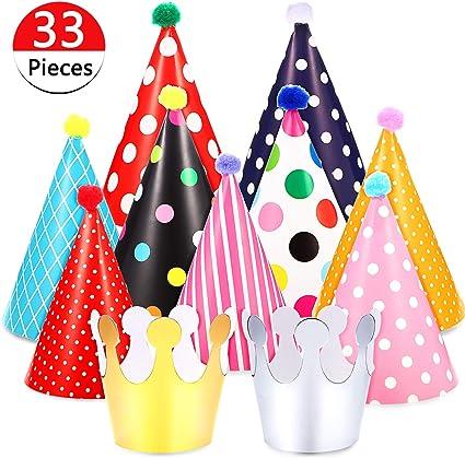 Amazon.com: 33 piezas de sombreros de fiesta de cumpleaños ...