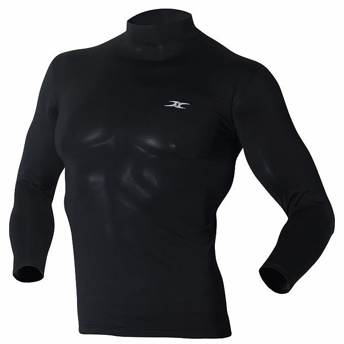 Mock Turtleneck Men Shirts Tops Base Layer Compression Long Sleeve ...