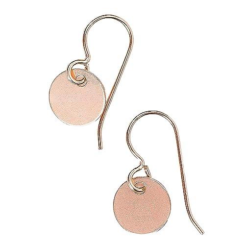 Amazon Com Small 14k Rose Gold Fill Round Circle Disc Dangle Drop Earrings Handmade
