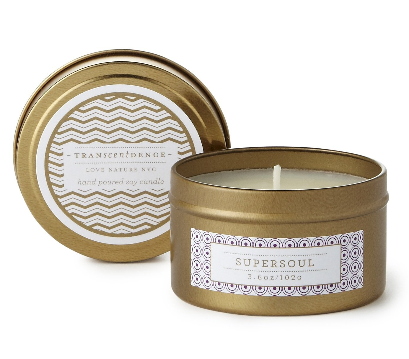 LOVE NATURE NYC Natural Soy Candle Tin, Supersoul Fragrance, Clean Burning Non-Toxic, Scent Notes of Nag Champa, Plumeria, Patchouli & Sandalwood, 25-30 Hours