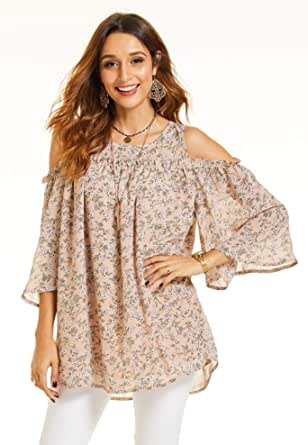 SONJA BETRO Women's Printed Floral Chiffon Cold Shoulder Ruffle Trim Elbow Length Bell Sleeve Tunic Top
