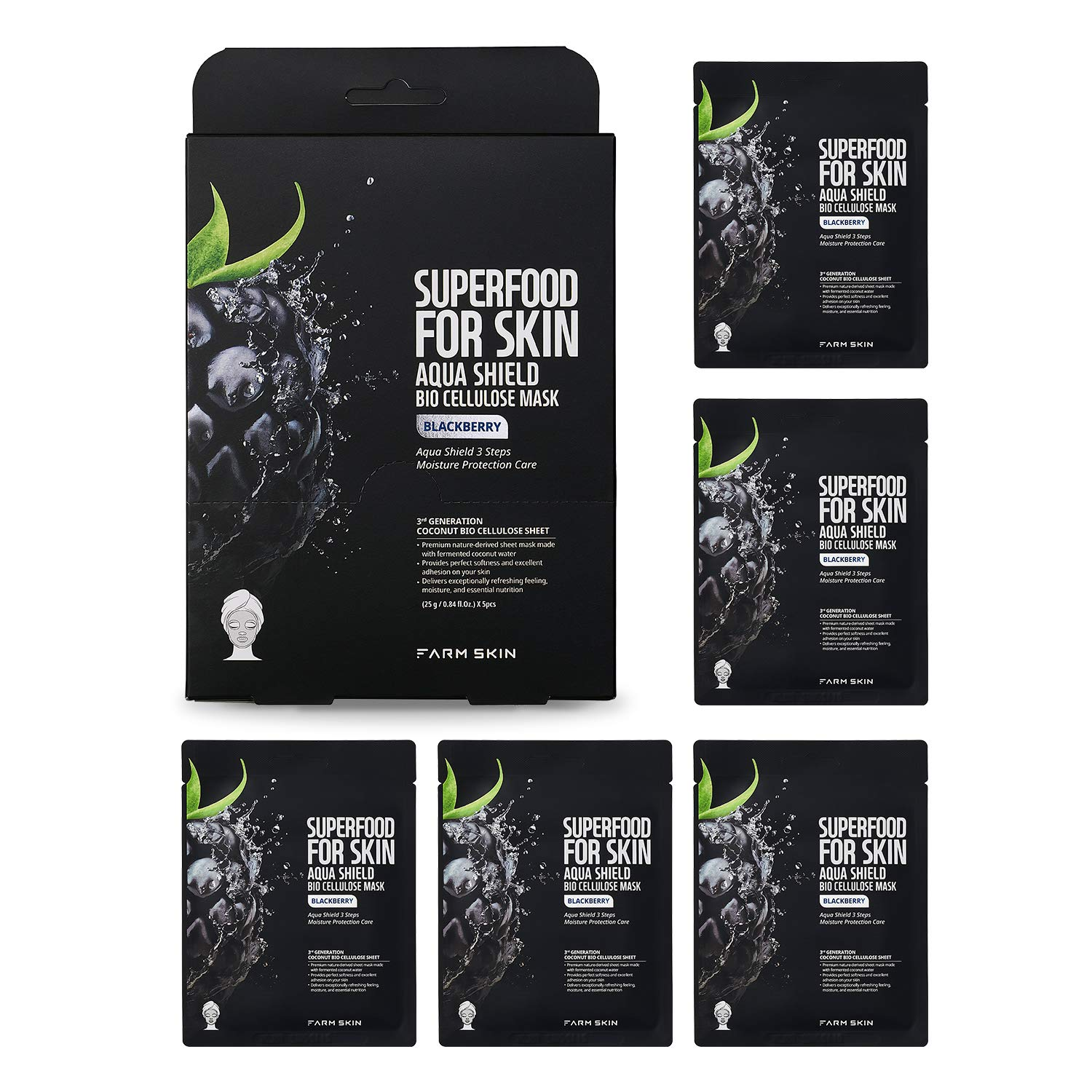 FARMSKIN Superfood Salad For Skin Aqua Shield Bio Cellulose Mask Blackberry for All Skin Types - 5 Sheets