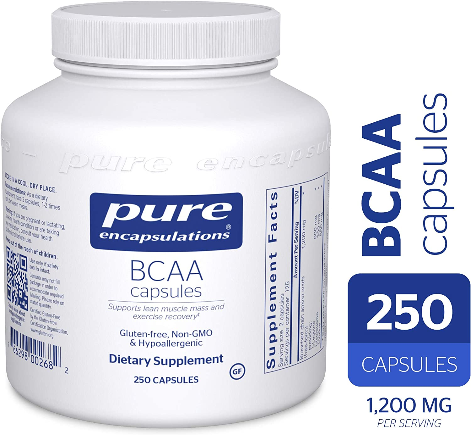 Pure Encapsulations – BCAA Capsules – Hypoallergenic Supplement To Support Muscle Function During Exercise* – 250 Capsules