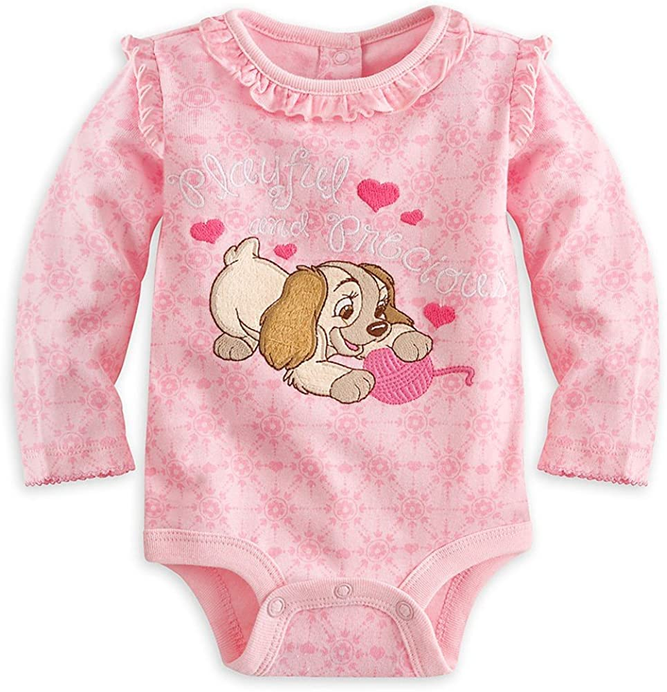 Disney Store Lady and the Tramp Long Sleeve Girls Baby T Shirt Size 0-3 Months