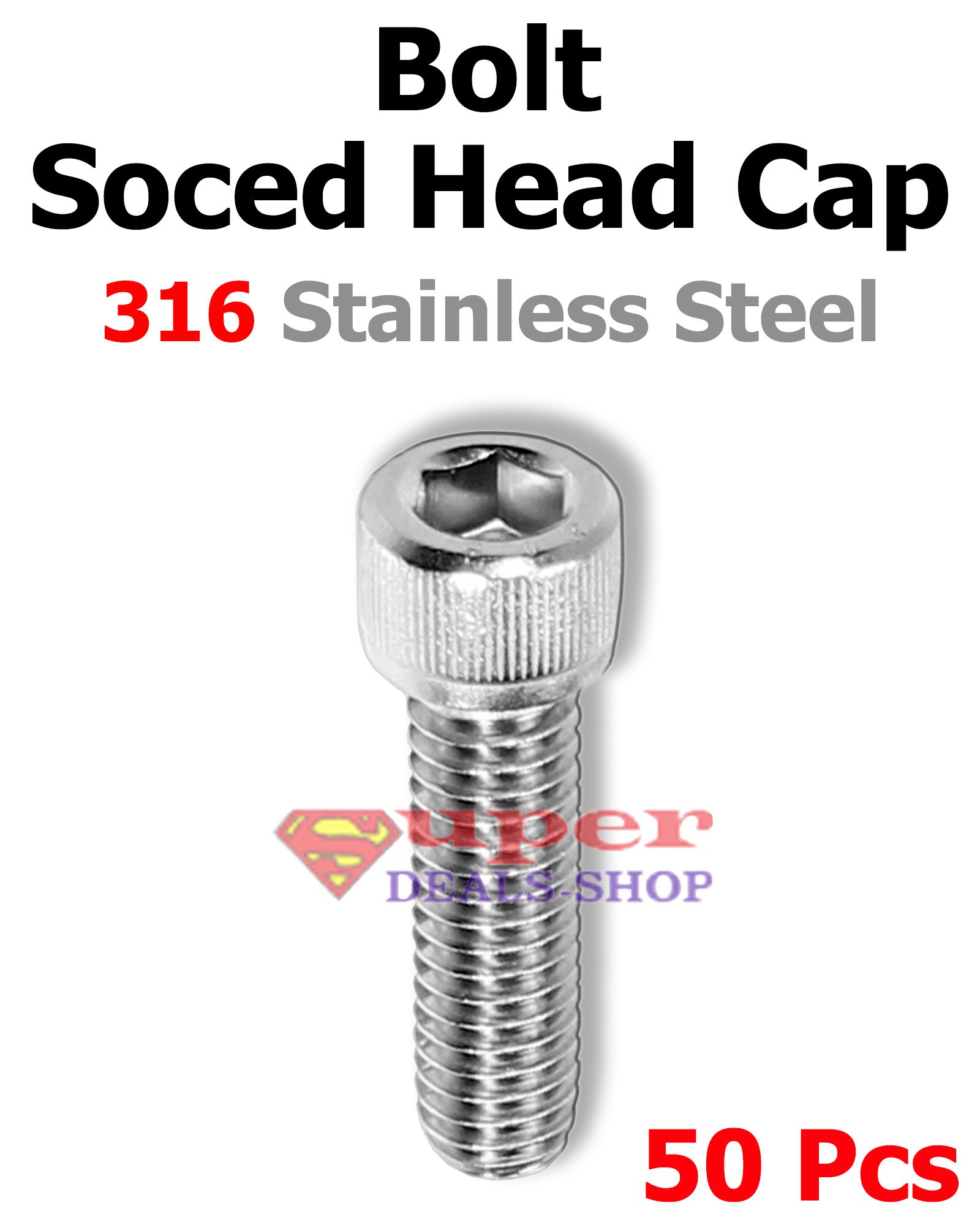 50 Pcs 10-24 x 7/16'' Stainless Steel Marine Grade 316 Socket Head Cap Screws Bolts Right Hand Threads Choose Size/Quantity In Listing Made in US Super-Deals-Shop