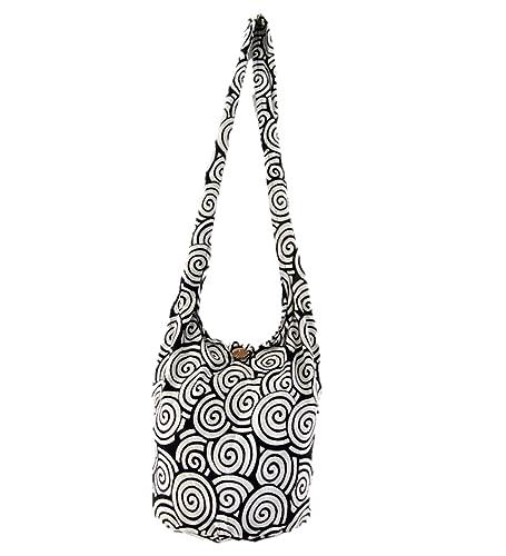 4d8fc2f53a Amazon.com  Handbag Thai Hippie Hobo Sling Crossbody Shoulder Bag Gypsy  Boho for Women Swirl Medium (Ash)  Shoes