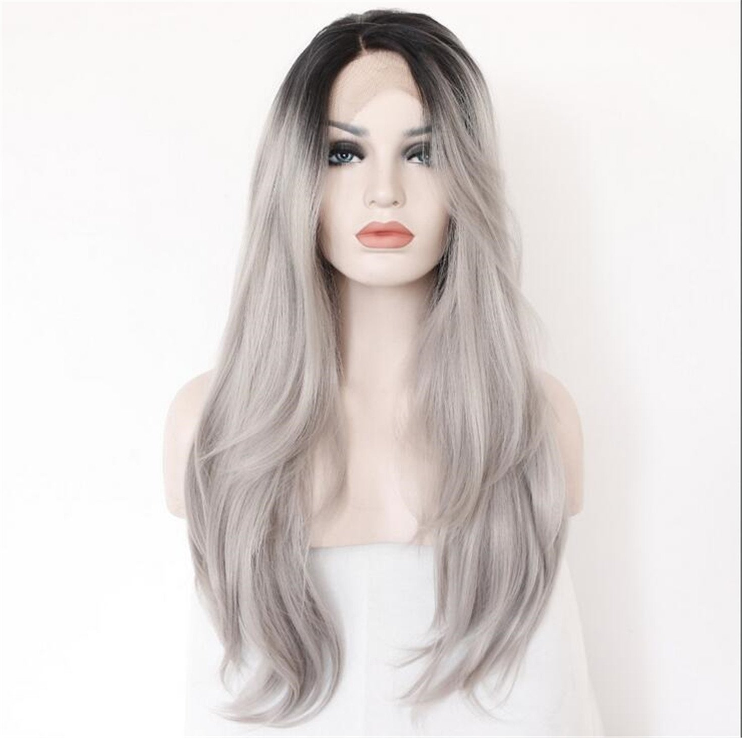 Cool2day 2 Tones Synthetic Lace Front Wig Gray Grey Silver Ombre Hand Tied Wavy Wigs Dark Roots Heat Resistant Fiber Hair LS010079