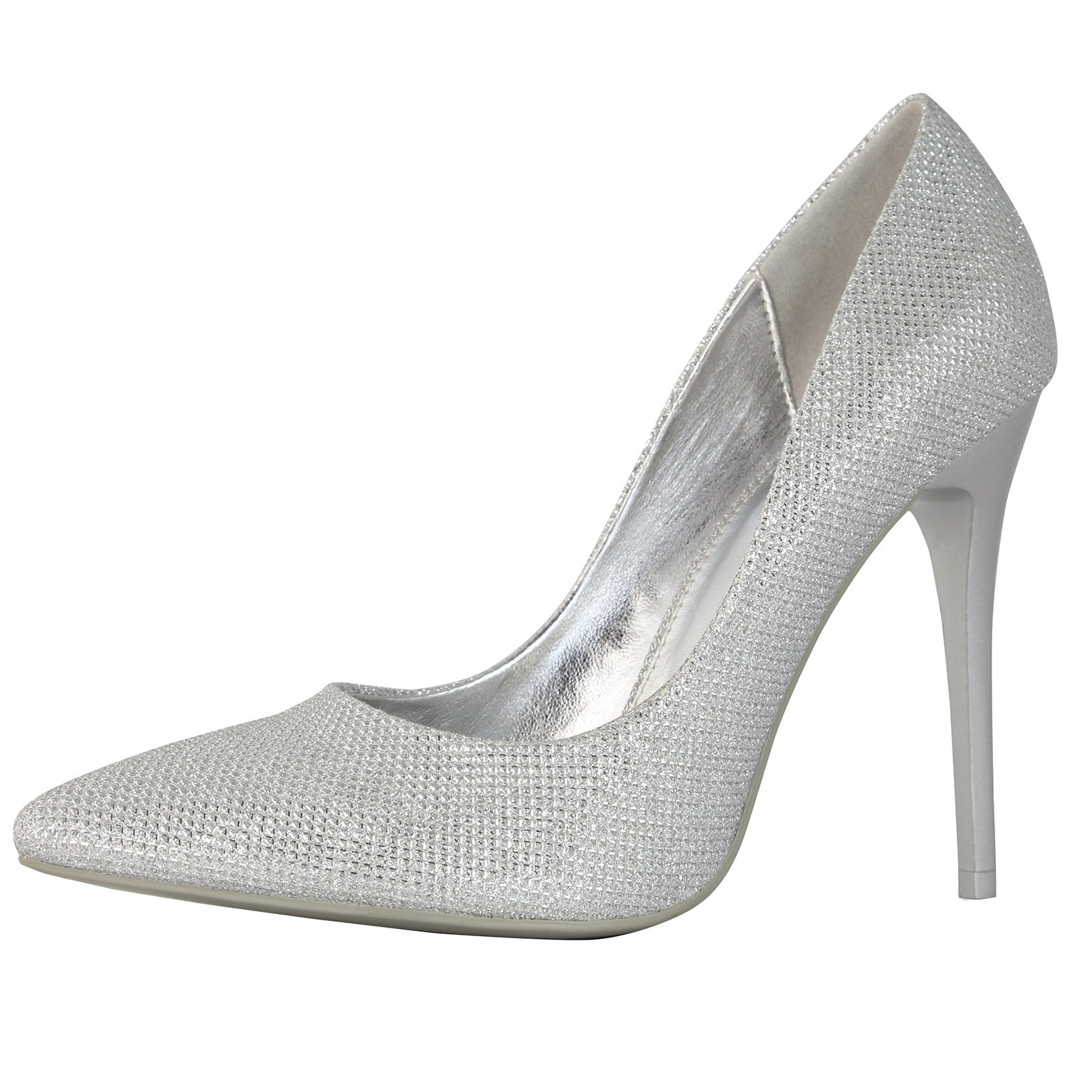 DailyShoes Women's Classic Fashion Stiletto Pointed Toe Pairs-01 High Heel Dress Pump Shoes -Perfect for Formal and Dinner Wear, Silver Glitter, 5.5 B(M) US