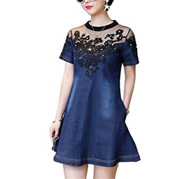 LONGTOU Vintage Summer Denim Dress O-Neck Short Sleeve Embroidery Hollow Out Patchwork Women Dresses