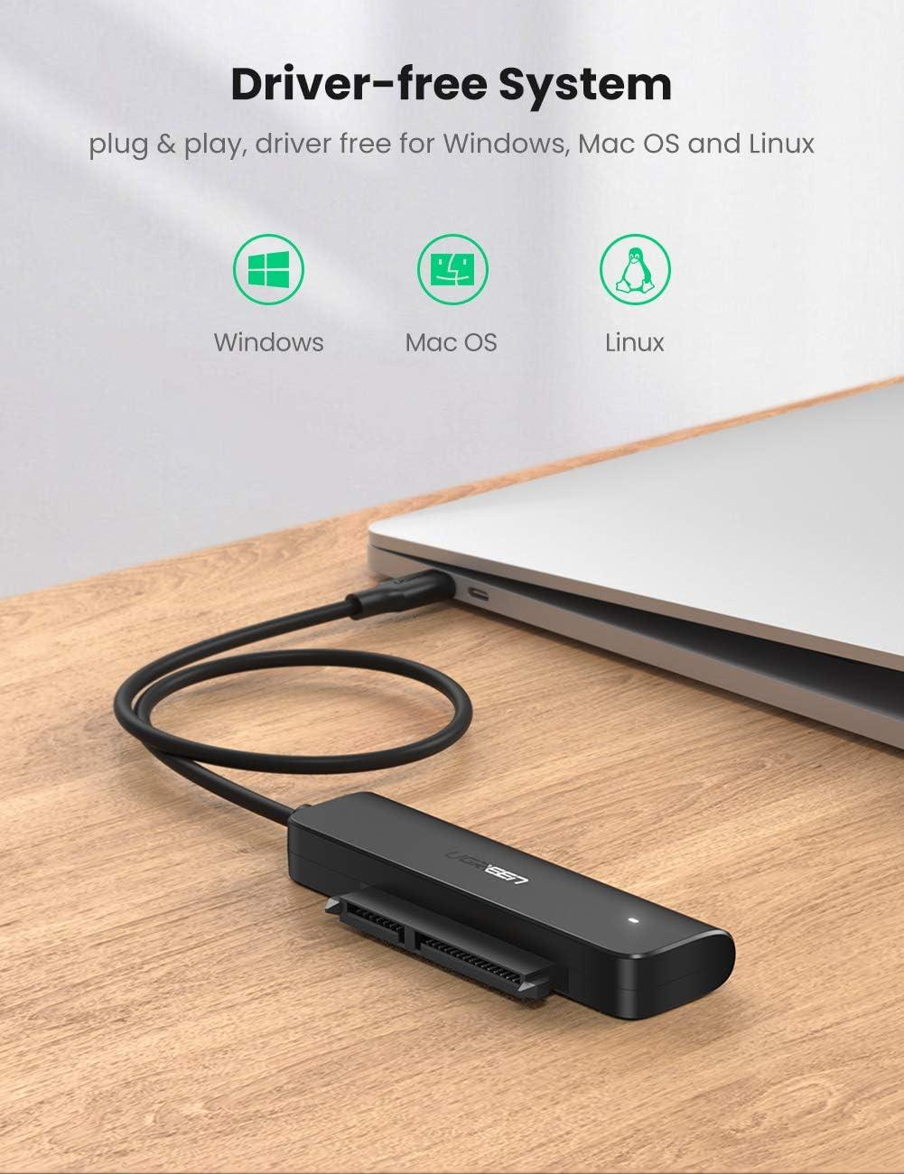 UGREEN C/âble USB C 3.1 Disque Dur Adaptateur Type C vers SATA USB C pour 2,5 Pouces HDD SSD Driver jusqu/à 10 to Supporte UASP