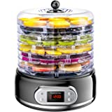 Elechomes 6-Tray Food Dehydrator, Faster Drying for Beef Jerky, Meat, Fruit, Dog Treats, Herbs, Vegetable, Digital Time & Tem