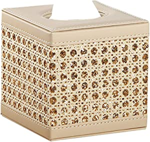 Tissue Box Cover Leather Gold Square Napkin Holder Pumping Paper Case Dispenser, Stylish Bling Tissue Box Holder for Bathroom Vanity Countertops, Bedroom Dressers, Night Stands, Desks and Tables