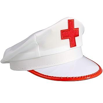 Amazon.com: Skeleteeen - Gorro de enfermera, color blanco ...