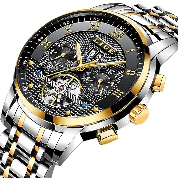 Relojes para Hombre LIGE cronógrafo Deportivo de Acero y Cuarzo, Informal Pero Elegante: Amazon.es: Relojes