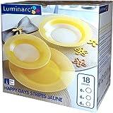 Completo juego de placas, juego de 18piezas para 6personas de Luminarc amarillo rayas feliz amarillo con decoración de cristal opalino Arcopal