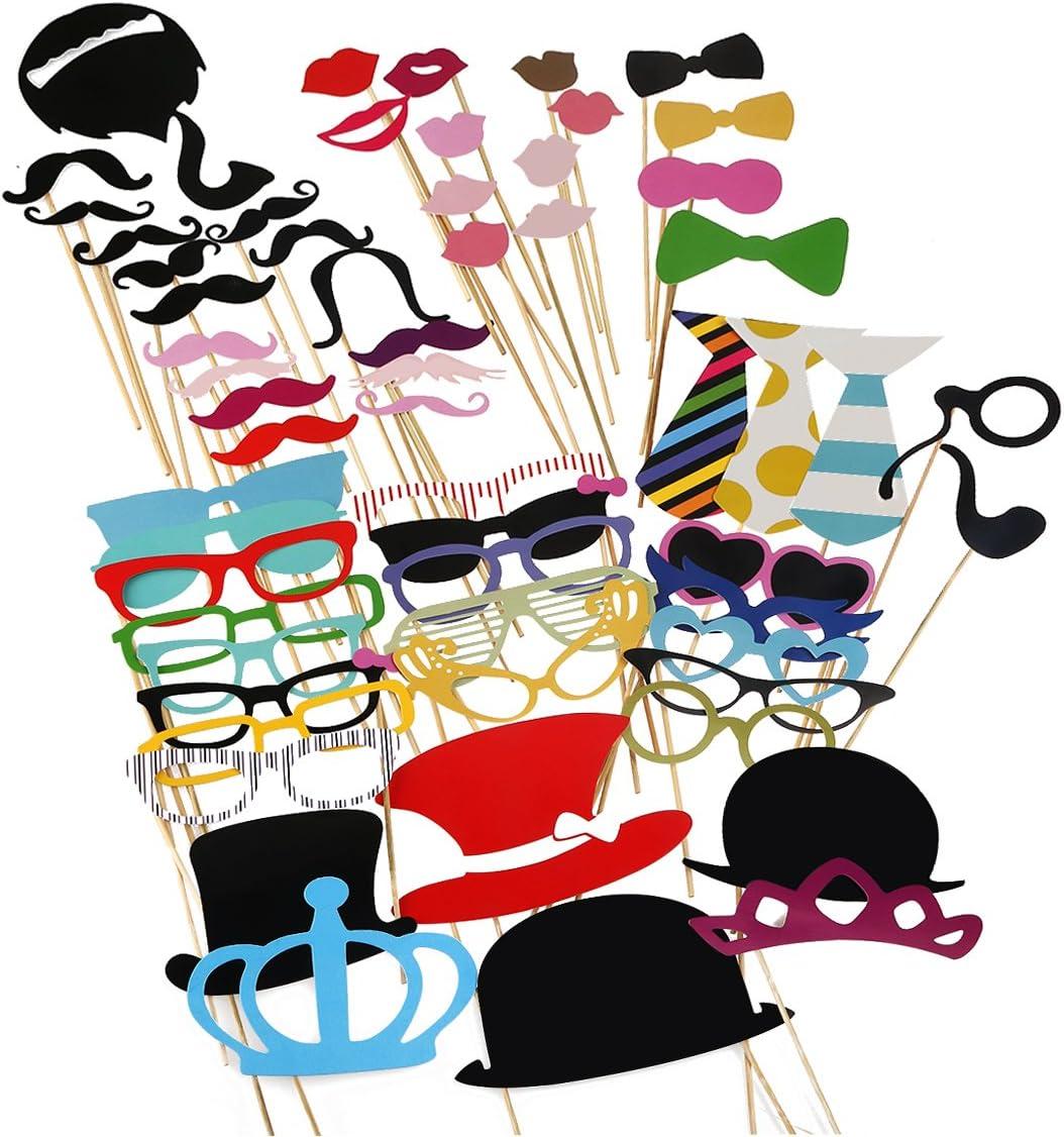 Tinksky 60 Piezas DIY Photo Booth Selfie Accesorios Favorecer Decoracion Incluyendo Bigotes Gafas Pelo Arcos Sombreros Labios Coronas para Boda Baby Shower cumpleaños Navidad Halloween Año Nuevo y Otr