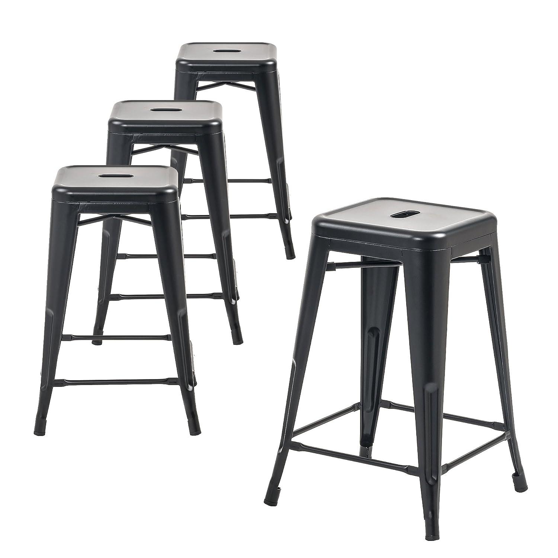 Buschman Metal Bar Stools 24 Counter Height, Indoor Outdoor and Stackable, Set of 4 Matte Black